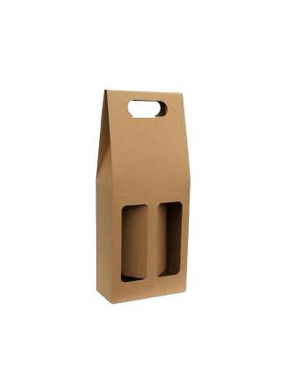 Krabička na 2 láhve - hnědá - hladká
